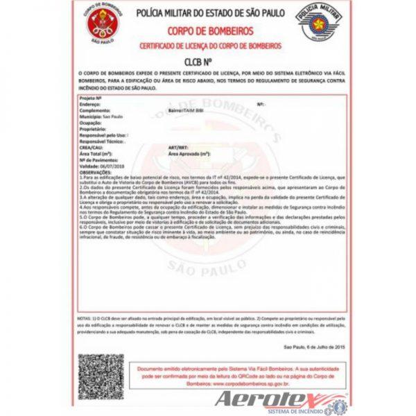 Emissão e/ou Regularização de C.L.C.B. Certificado de licença do Corpo de Bombeiros até 750m² - 60047