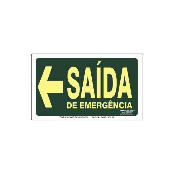 Placa Fotoluminescente Saída de Emergência Sentido à Esquerda (S17E) 12x24 CM - PS029